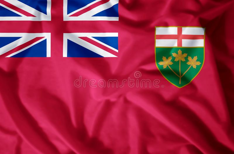 Ontario. Stylish waving and closeup flag illustration. Perfect for background or texture purposes royalty free illustration