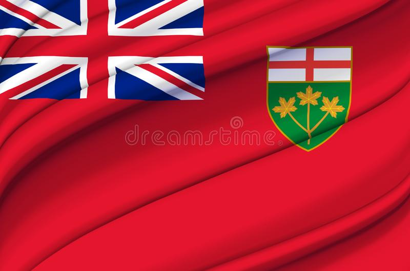 Ontario waving flag illustration. States, cities and Regions of Canada. Perfect for background and texture usage vector illustration