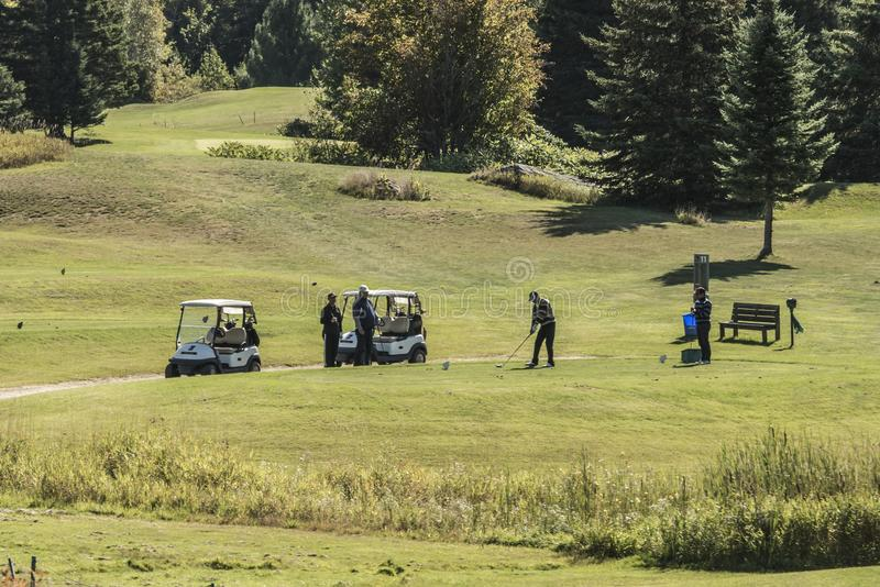 ONTARIO wilno canada 09.09.2017 golfer golf players playing on green gras on a course outdoor tee shot event Canadian. ONTARIO wilno canada 09.09.2017 - golfer stock images