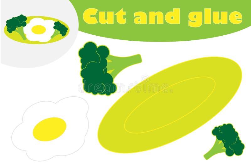 Ontbijt in beeldverhaalstijl, onderwijsspel voor de ontwikkeling van peuterkinderen, te creëren gebruiksschaar en lijm royalty-vrije illustratie