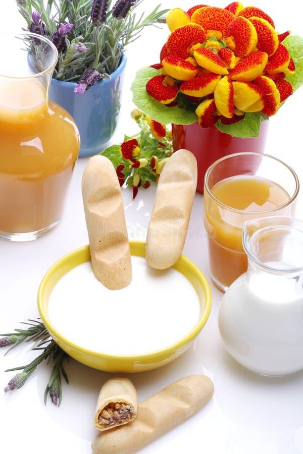 Ontbijt in de lente stock afbeelding