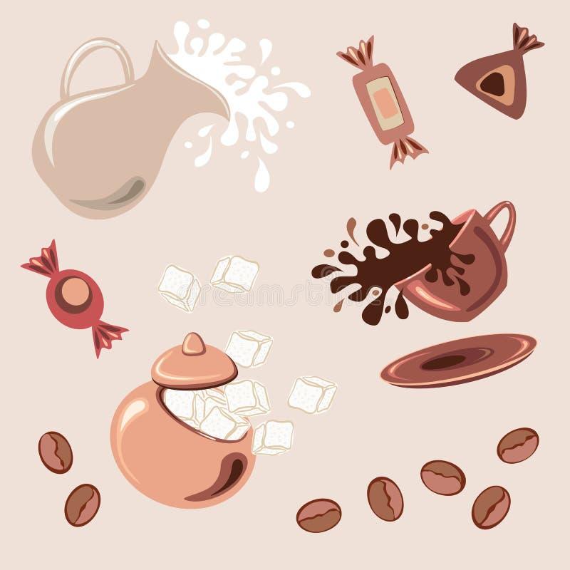 Ontbijt met koffie, vers melk en suikergoed royalty-vrije illustratie