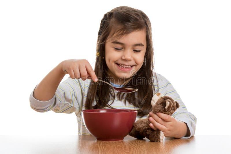 Ontbijt met teddybeer royalty-vrije stock foto's