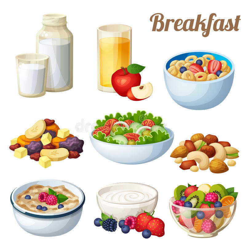 Ontbijt 2 Reeks pictogrammen van het beeldverhaal vectordievoedsel op witte achtergrond wordt geïsoleerd vector illustratie