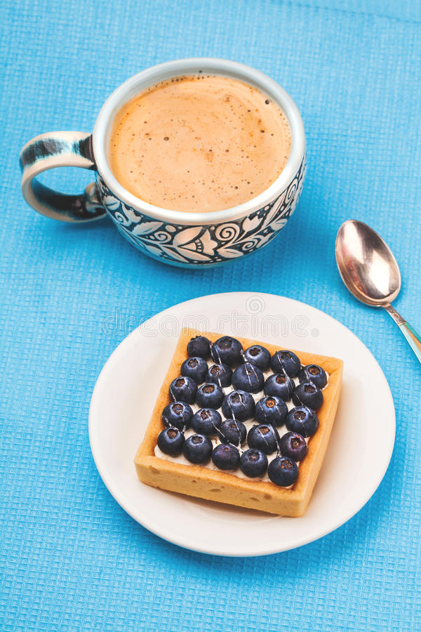 Ontbijt van Cake en koffie stock foto's