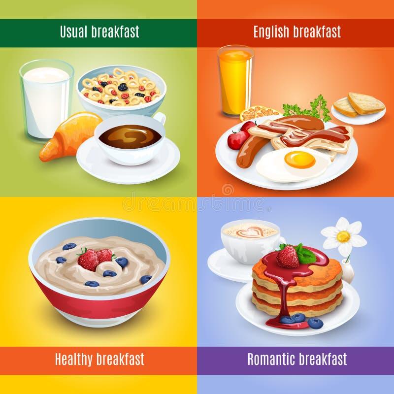 Ontbijt 4 vlakke pictogrammen vierkante combinatie vector illustratie