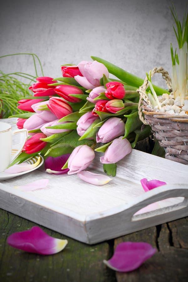 Ontbijtlijst op de Dag van Valentine, Moederdag, Verjaardag royalty-vrije stock fotografie