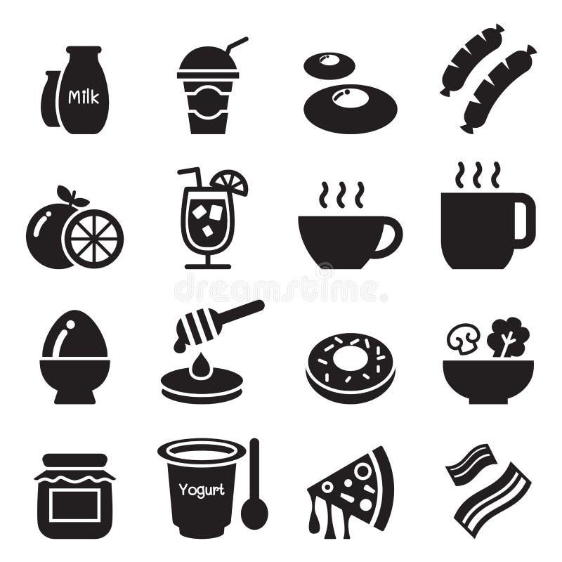 Ontbijtpictogrammen set1 stock illustratie
