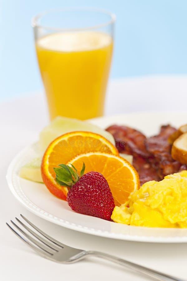 Ontbijtplaat met vork royalty-vrije stock foto's