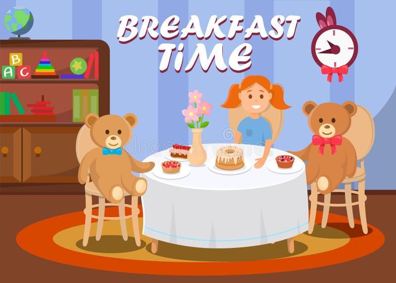 Ontbijttijd voor Kind, die Zoete Cakes eten vector illustratie