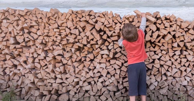 Ontbossingsconcept Houten productie Brandstofachtergrond Brandhout voor huisbrand Ecologische problemen Natuurlijke oplossingen royalty-vrije stock foto's