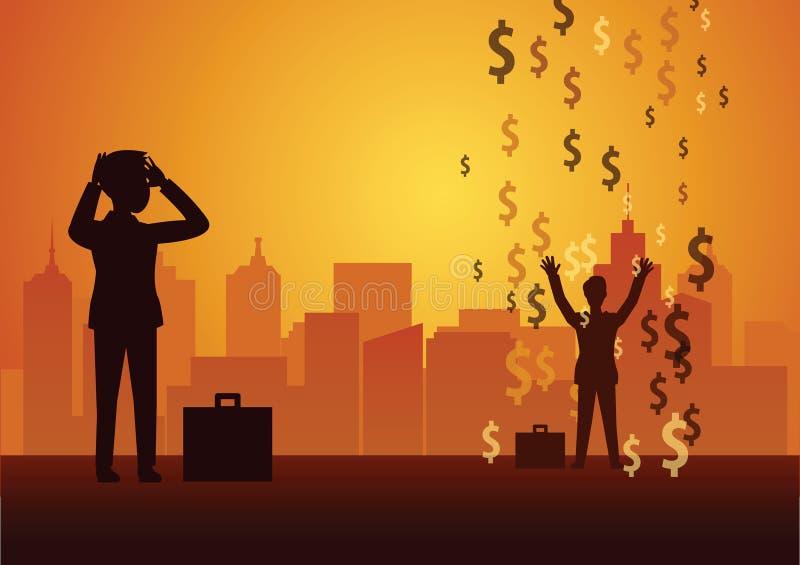 Ontbreek zakenman kijken aan succes  de regen van het dollarteken betekent rijken royalty-vrije illustratie