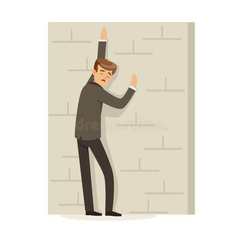 Ontbroken en beklemtoonde zakenman die en zich tegen een concrete muur, niet succesvolle karakter vectorillustratie bevinden leun royalty-vrije illustratie