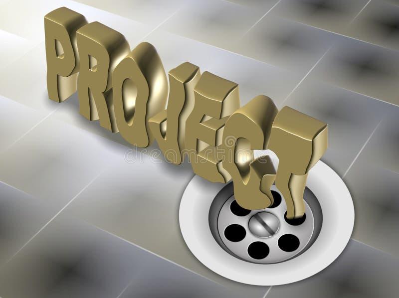 Ontbroken project onderaan het afvoerkanaal stock illustratie