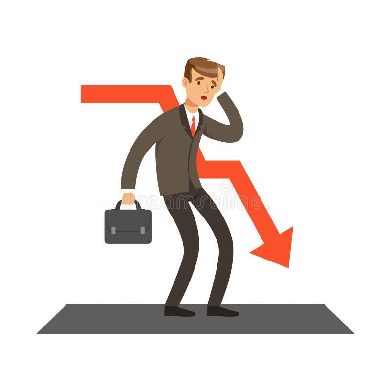 Ontbroken zakenman en rode grafiek die, niet succesvolle karakter vectorillustratie dalen stock illustratie