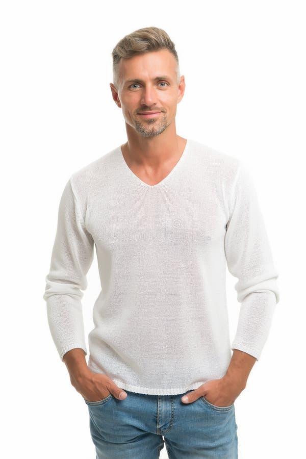 Ontdek recentste stijlen van mannelijke kleren Toevallig en comfortabel het voelen Menswear en modieuze kleding De mens kijkt stock foto