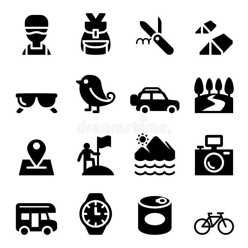 Ontdekking, het Reizen, het Kamperen, geplaatste Avonturenpictogrammen stock illustratie