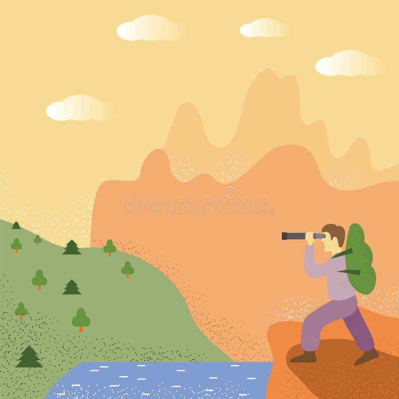 Ontdekkingsreiziger Stand Near The als De mens kijkt op Forest Concept van Reis, Avonturentoerisme Reiziger met rugzak vector illustratie