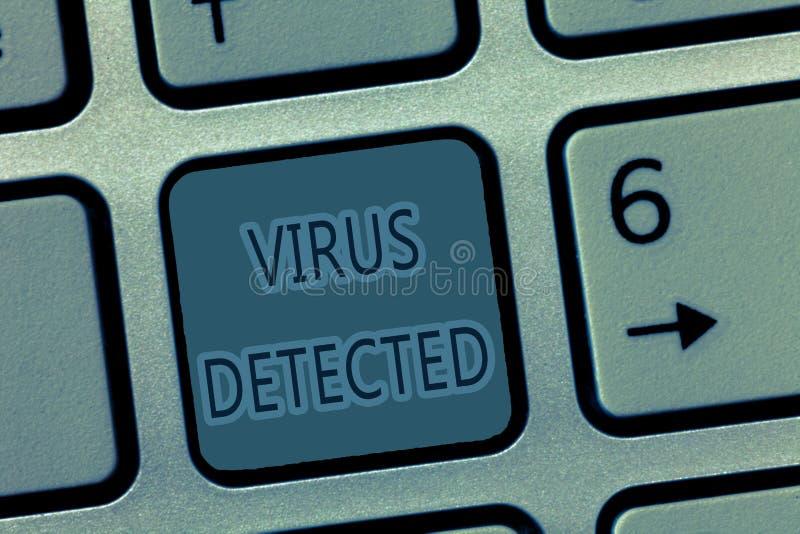 Ontdekte het Virus van de handschrifttekst Concept die die A computerprogramma betekenen wordt gebruikt om te verhinderen en te v stock foto's