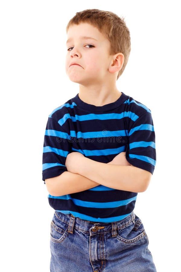 Ontevredenheid weinig jongen stock foto