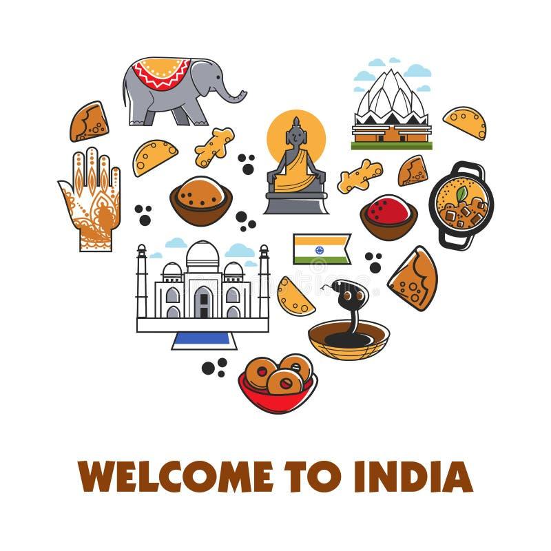 Onthaal aan affiche van het de reis de vectorhart van India royalty-vrije illustratie