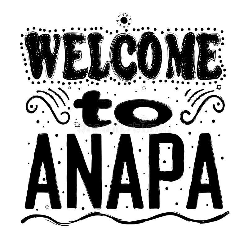 Onthaal aan Anapa Rusland - het Grote hand van letters voorzien stock illustratie