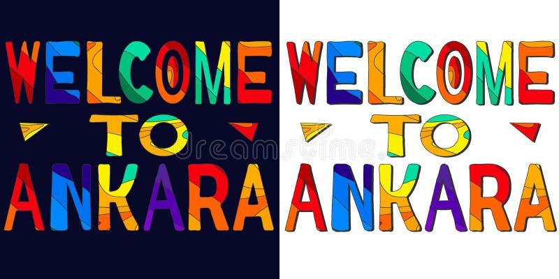 Onthaal aan Ankara - ?olorful heldere inschrijving Ankara is hoofd van Turkije Reeks 2 in 1 stock illustratie