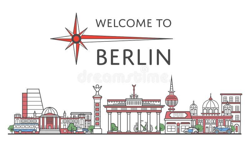 Onthaal aan de affiche van Berlijn in lineaire stijl vector illustratie