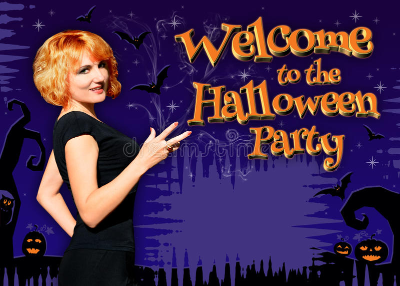 Onthaal aan de Halloween-Partijaffiche stock afbeelding