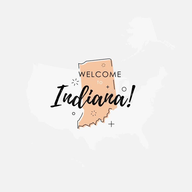 Onthaal aan de kaart van de staat van Indiana stock illustratie