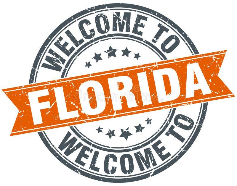 Onthaal aan de oranje ronde zegel van Florida stock illustratie