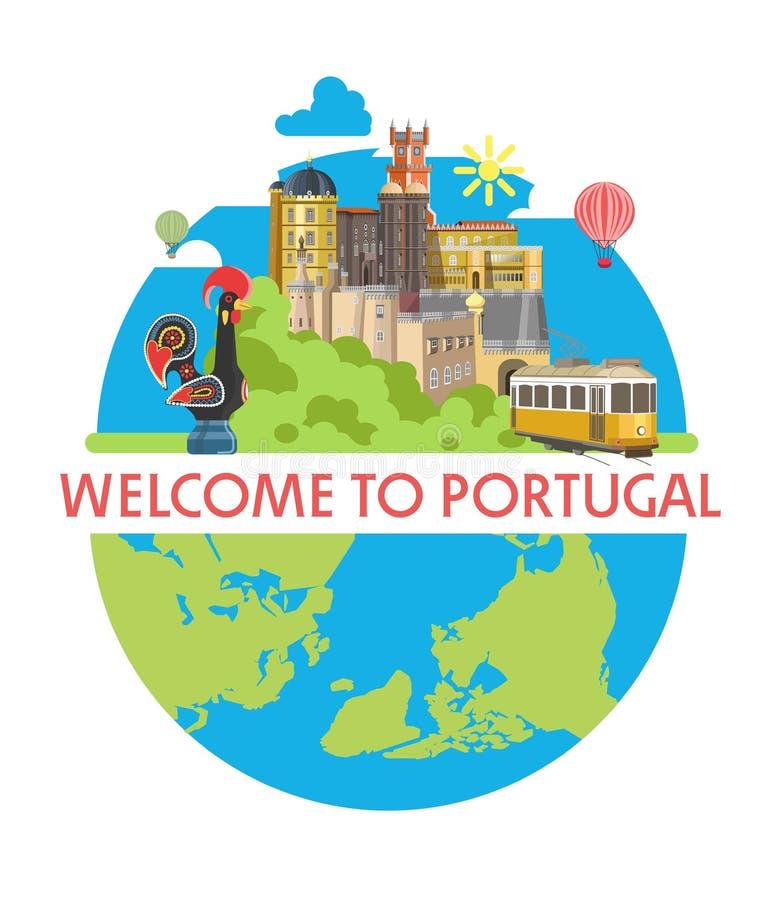 Onthaal aan de promotieaffiche van Portugal met lokale architectuur royalty-vrije illustratie