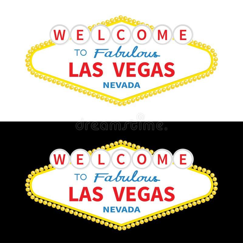 Onthaal aan de reeks van het het tekenpictogram van Las Vegas Klassiek retro symbool vector illustratie