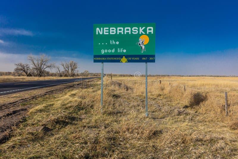 Onthaal aan de Staat van Nebraska - Roadsign royalty-vrije stock fotografie