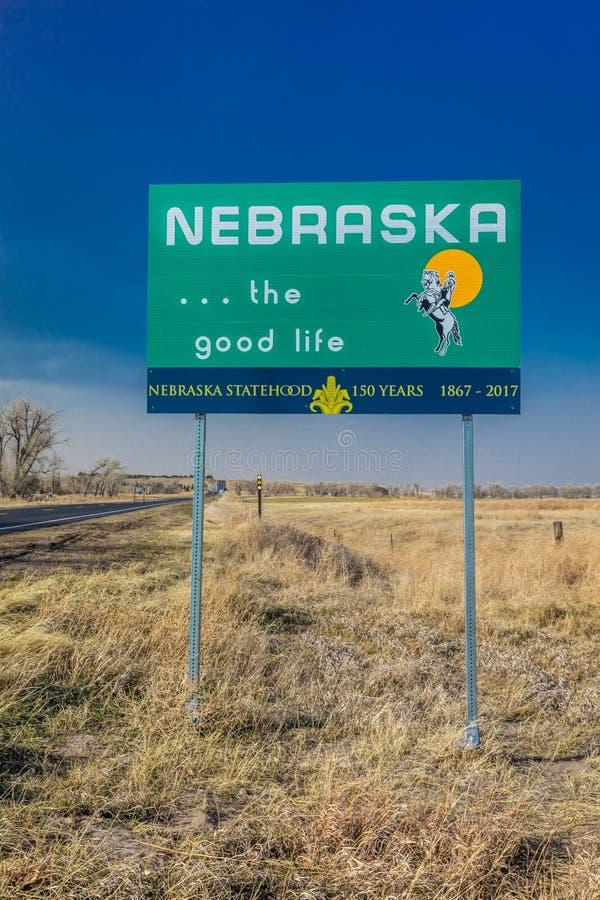 Onthaal aan de Staat van Nebraska - Roadsign stock foto's