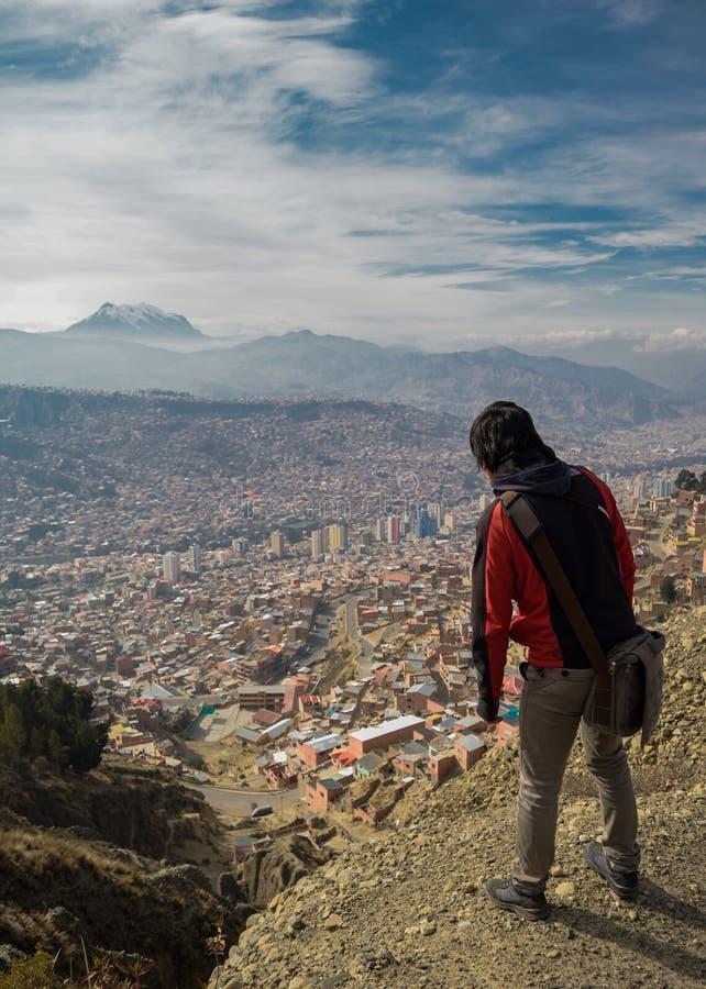 Onthaal aan de stad van La Paz van Bolivië royalty-vrije stock afbeelding