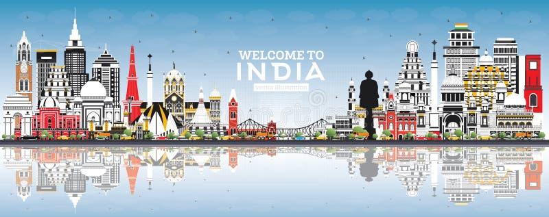 Onthaal aan de Stadshorizon van India met Kleurengebouwen, Blauwe Hemel en Bezinningen stock illustratie