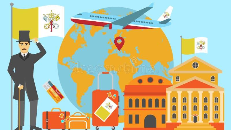 Onthaal aan de Stadsprentbriefkaar van Vatikaan Reis en safari het concept de wereld van Europa brengt vectorillustratie met nati royalty-vrije illustratie