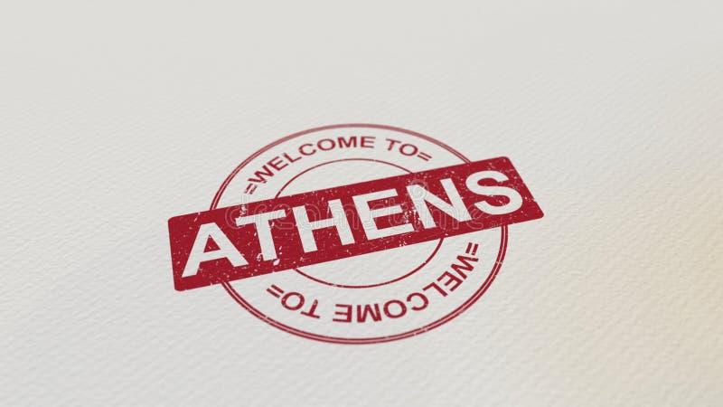 ONTHAAL AAN de zegel rode druk van ATHENE op het document het 3d teruggeven stock illustratie