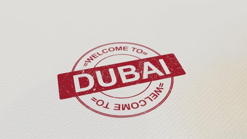 ONTHAAL AAN de zegel rode druk van DOUBAI op het document het 3d teruggeven stock illustratie