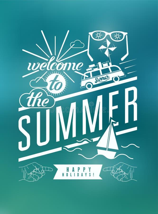 Onthaal aan de zomer Typografische retro affiche met onscherpe achtergrond Vector illustratie vector illustratie