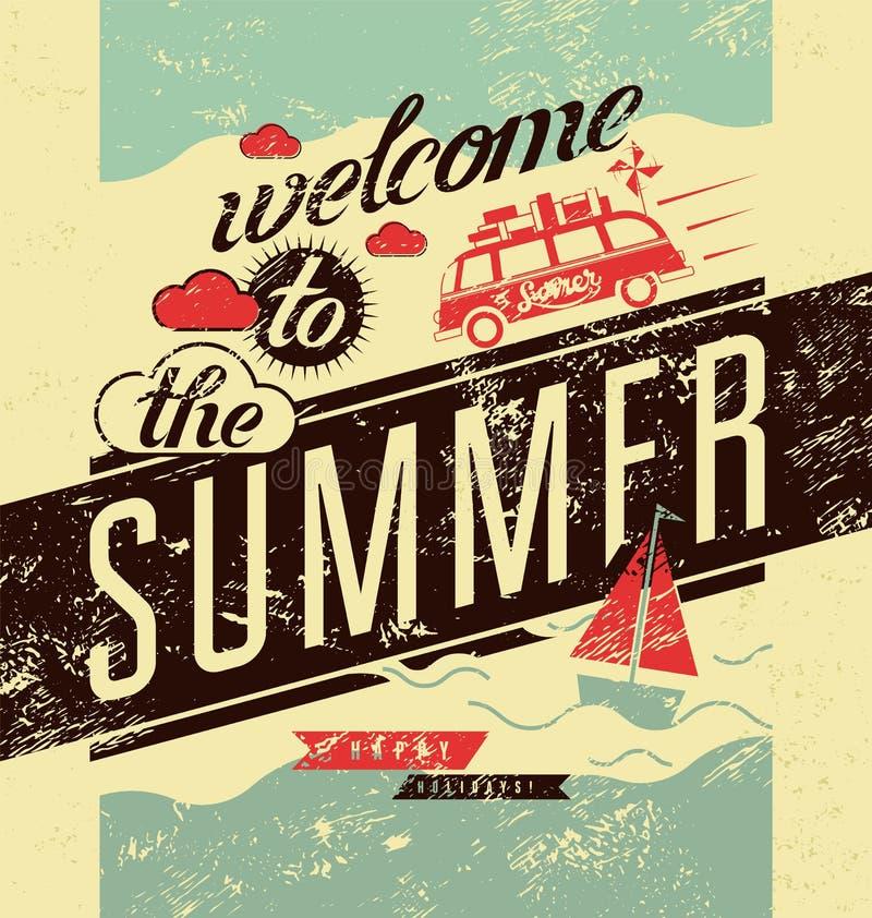 Onthaal aan de zomer Typografische retro grungeaffiche Vector illustratie stock illustratie