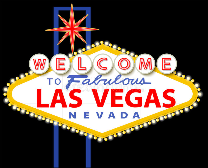 Onthaal aan Fabelachtig Las Vegas Nevada Sign stock illustratie
