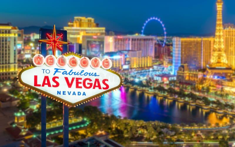 Onthaal aan Fabelachtig Las Vegas Nevada Sign stock afbeeldingen