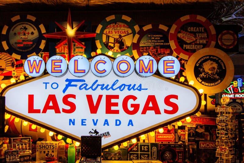 Onthaal aan Fabelachtig Las Vegas Nevada Sign Background stock fotografie