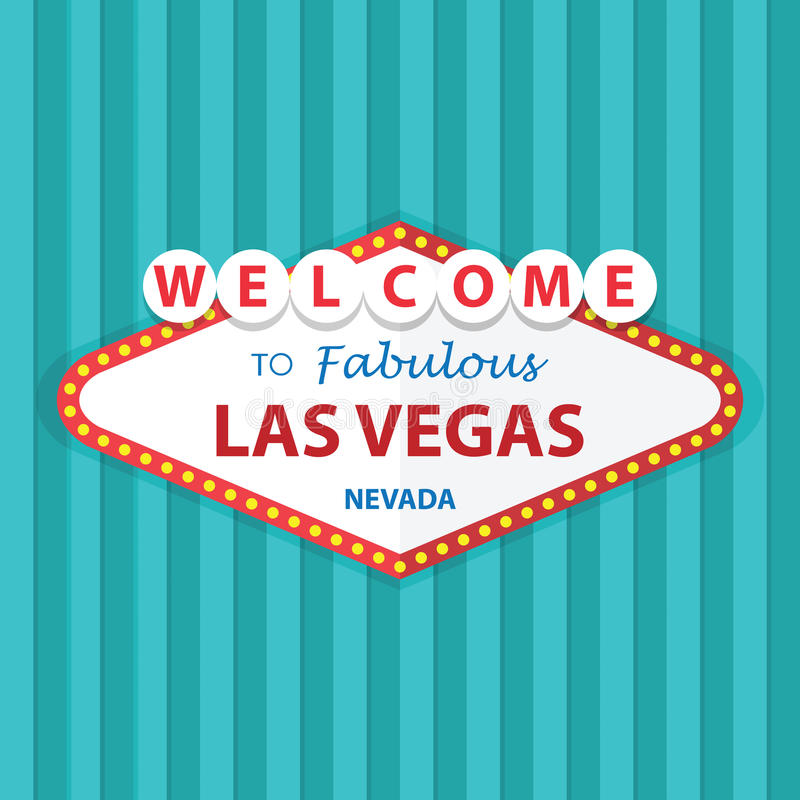 Onthaal aan Fabelachtig Las Vegas Nevada Sign On Curtains Background royalty-vrije illustratie