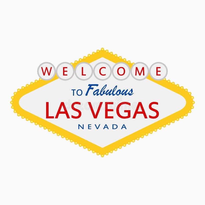 Onthaal aan Fabelachtig Las Vegas, Nevada - teken met verlichtingslampen Klassiek retro uithangbord in vlakke stijl Vector royalty-vrije illustratie
