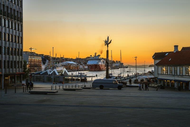 Onthaal aan haven van Stavanger stock fotografie