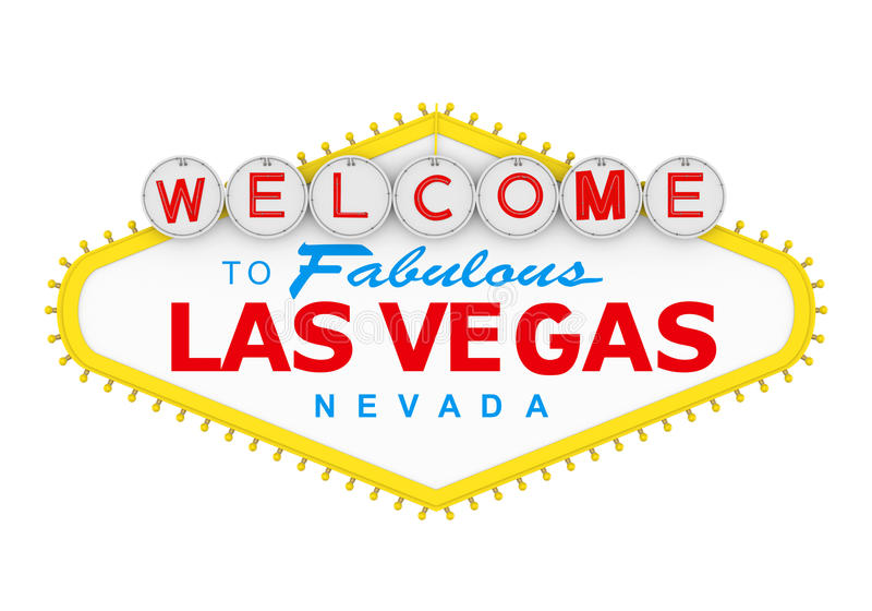 Onthaal aan het Fabelachtige Geïsoleerde Teken van Las Vegas royalty-vrije illustratie