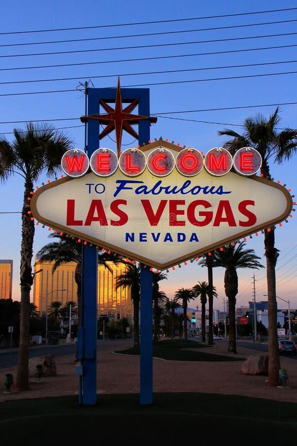 Onthaal aan het Fabelachtige teken van Las Vegas bij nacht, Nevada royalty-vrije stock fotografie